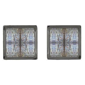 Silver Blue Sun Jewels by Deprise Gunmetal Finish Cufflinks