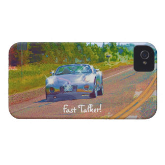 Silver-Blue Superfast Sports Car Fun iPhone 4 Case