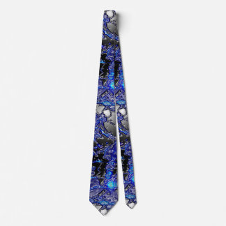 Silver Blue Swirly Abstract Neck Tie