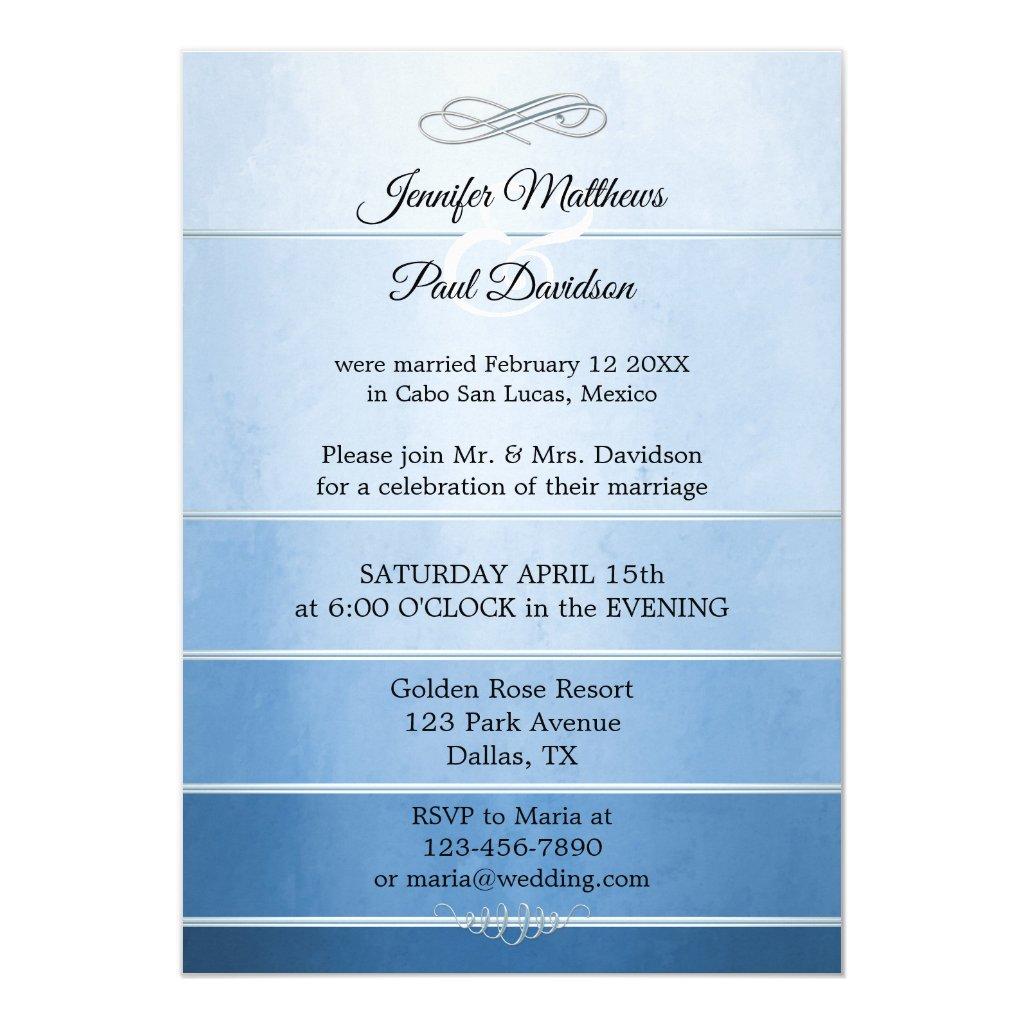 Silver Blue Ton sur Ton Striped Post Wedding Invitation