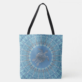Silver Blue Turtle Animal Tote Bag