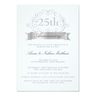 Silver & Blue Wedding 25th Anniversary Invitations