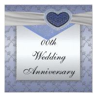 Silver Blue Wedding Anniversary Party Invitation