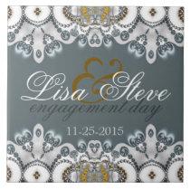 Silver Blue   White Lacy Engagement Keepsake Gift Ceramic Tile