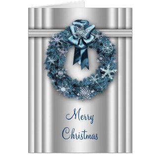 Silver Blue Wreath Corporate Christmas Card
