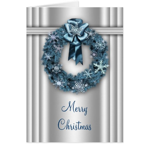 Silver Blue Wreath Corporate Christmas Cards