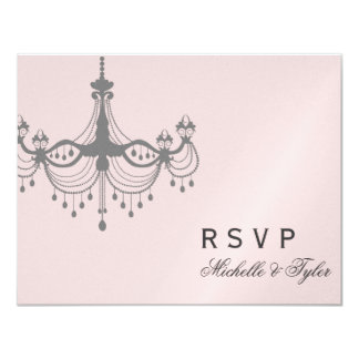 "Silver & Blush Chandelier RSVP Card 4.25"" X 5.5"" Invitation Card"