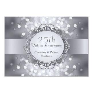 Silver Bokeh 25th Anniversary Party Invitation