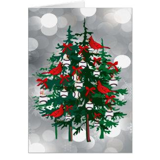 Silver Bokeh Baseball Christmas Tree with Red Bird Greeting Card
