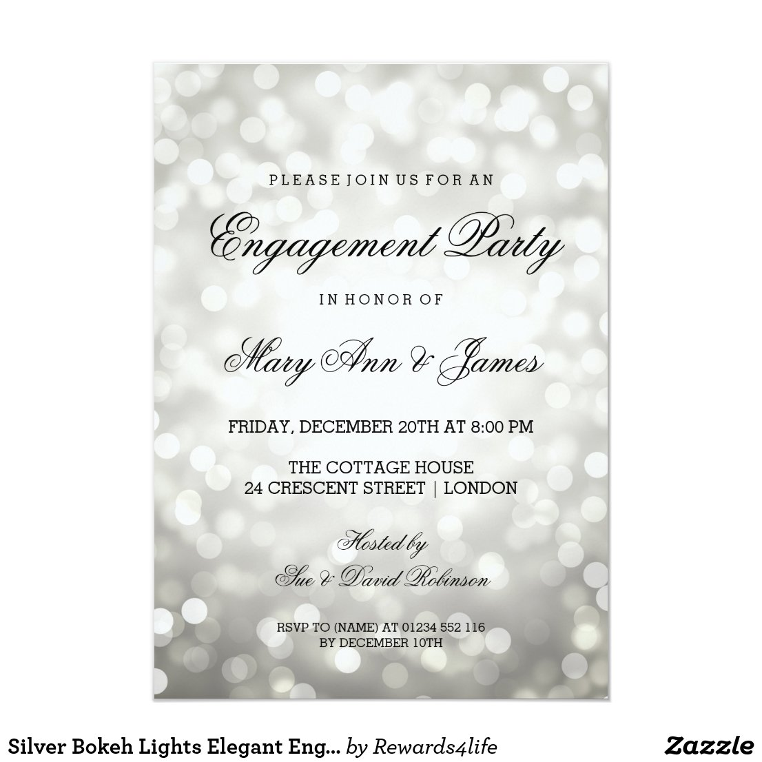 Silver Bokeh Lights Elegant Engagement Party Invitation
