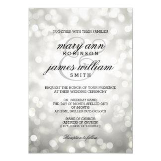 Silver Bokeh Lights Elegant Wedding Card