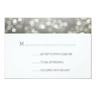 Silver Bokeh Lights Elegant Wedding RSVP 3.5x5 Paper Invitation Card