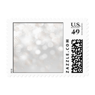 silver bokeh snowflakes winter holidays stamps