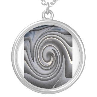 Silver Bone Swirl Pendant Necklace