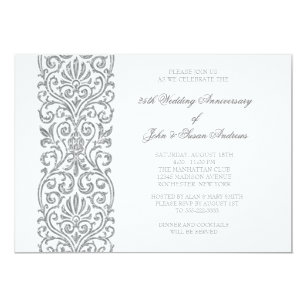 Silver border invitations announcements zazzle silver border 25th wedding anniversary party invitation stopboris Image collections
