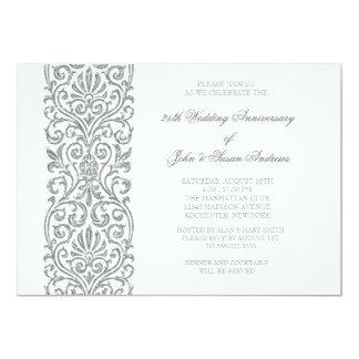 Silver Border 25th Wedding Anniversary Party Invitation