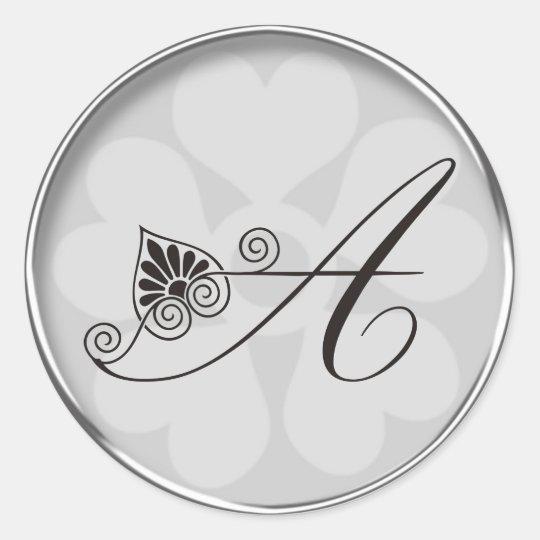 Silver Border Swirls Monogram A Classic Round Sticker