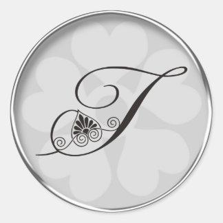 Silver Border Swirls Monogram T Stickers