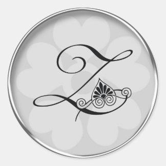 Silver Border Swirls Monogram Z Classic Round Sticker