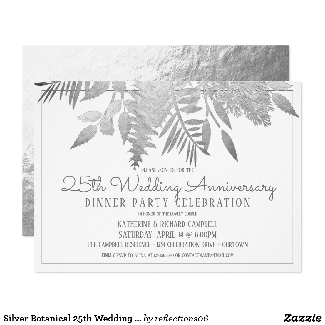 Silver Botanical 25th Wedding Anniversary Party Invitation