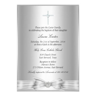Silver Bow & Cross Baptism/Christening Invitation