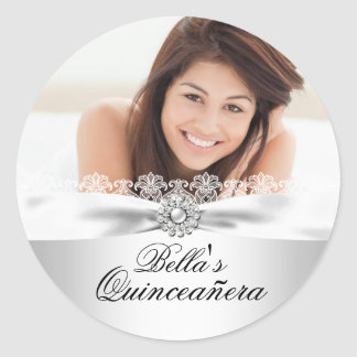 Silver Bow & Lace Quinceanera Sticker