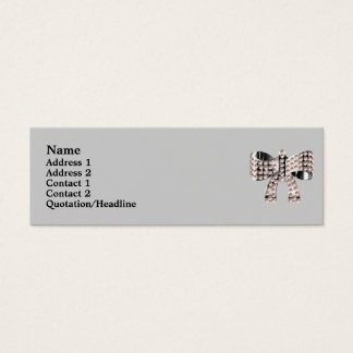 Silver bow & pearls mini business card