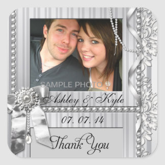 Silver Bow Photo Thank You Wedding Labels