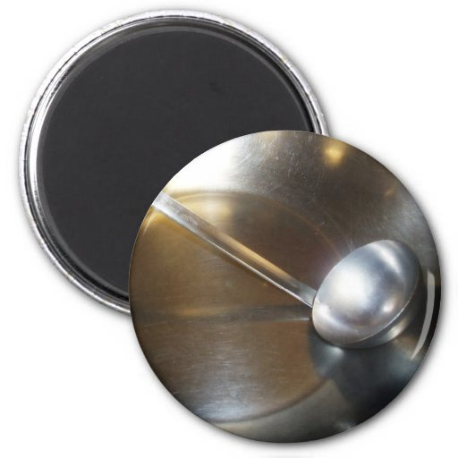 Silver Bowl With Soup Ladle Refrigerator Magnet