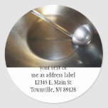 Silver Bowl With Soup Ladle Round Sticker