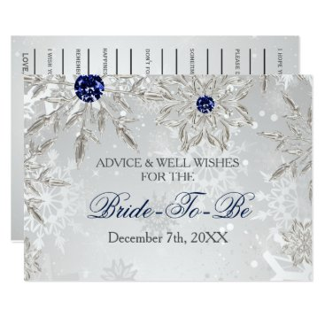 silver bridal shower Advice and Well Wishes Card