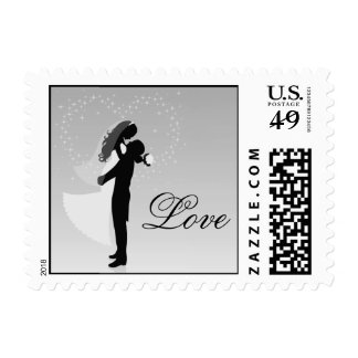 Silver Bride And Groom Silhouette Love Postage