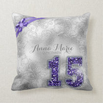 Silver Brocade Fifteenth Birthday Purple ID382 Throw Pillow