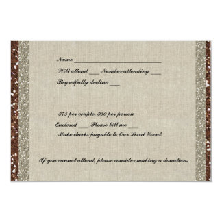 Silver Brown Glitter Linen RSVP Card