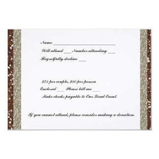 Silver Brown Glitter RSVP Card