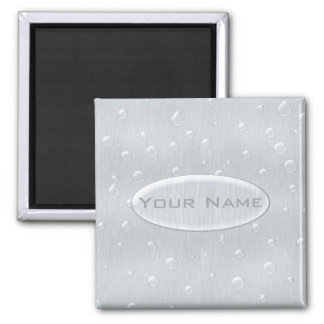 Silver Brushed Metal Look with Water Drops 2 Inch Square Magnet