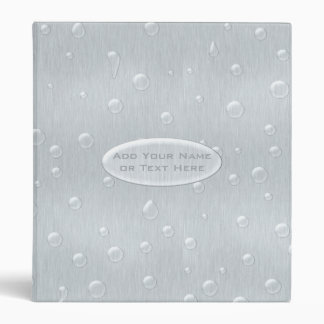 Silver Brushed Metal Look with Water Drops 3 Ring Binder