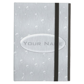 Silver Brushed Metal Look with Water Drops Cover For iPad Air