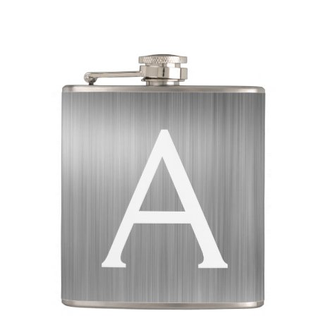 Silver Brushed Metal Monogram Name and Initial Flask