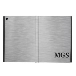 SILVER BRUSHED STEEL PRINTED MONOGRAMMED iPad AIR COVER