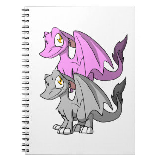 Silver/Bubblegum SD Furry Dragon Spiral Notebook