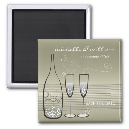 Silver Bubbles Celebration Save The Date Magnet