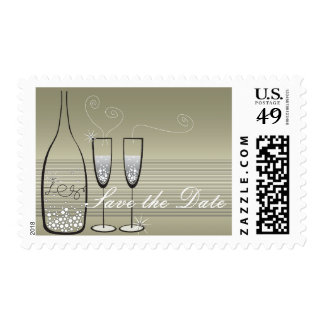Silver Bubbles Celebration Save The Date Stamps