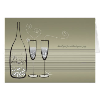 Silver Bubbles Celebration Thank You Note Card