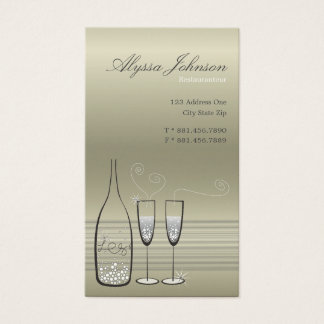 Silver Bubbles Cheers Chic Modern Profile Card /