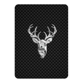 Silver Buck on Carbon Fiber Decor Card