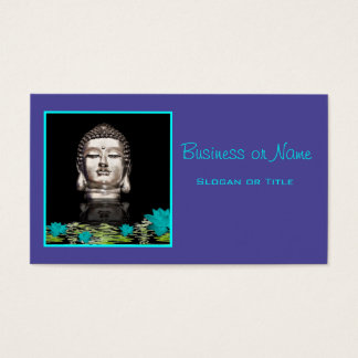 Silver Buddha Head Statue Business Card