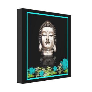 Silver Buddha Head Statue Canvas Print