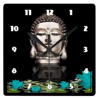 Silver Buddha Head Statue Square Wall Clock