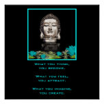 Silver Buddha Head Statue with Inspirational Quote Poster
